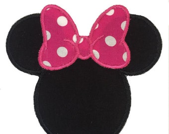 Minnie Mouse Patch, Minnie Mouse With Hot Pink Hair Bow Iron On Embroidery Applique Patch,Disney Patch, Personalized Minnie Mouse Patch
