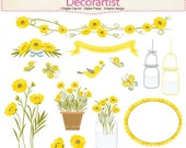 ON SALE Flowers clip art, mason jars clip art,flowers summer garden clip art, yellow flowers clip art,botanical, birds clip art, INSTANT Dow