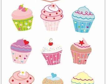 ON SALE Digital clipart , cupcake,  cupcake party clipart , INSTANT Download