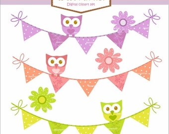 ON SALE Digital clip art , Bunting clip art,  owl clip art, bunting and owls 2 clip art