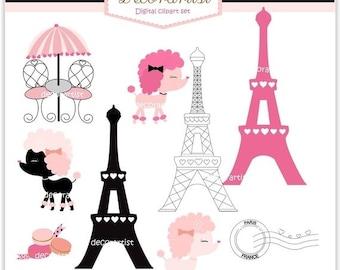 ON SALE clipart , French poodle digital clipart, bonjour Paris, french style, paris.
