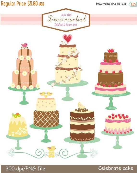 ON SALE clipart, Digital clipart, cake clipart, tea party, celebrated cakes 2 Pink , INSTANT Download