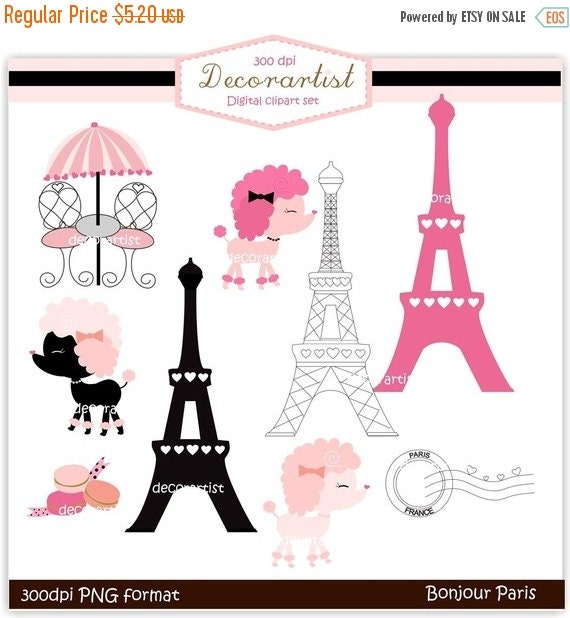 ON SALE clip art , French poodle digital clip art, bonjour Paris, french style, paris.