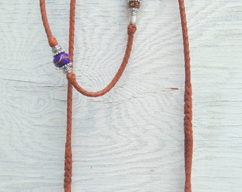 Braided Kangaroo Leather Dog Show Lead  - Saddle Tan - 37""