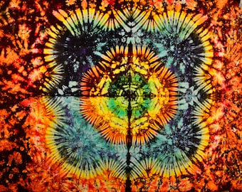 Bargain bin 58x42 Medium Tie Dye Tapestry by Emeraldsprings wallhanging handmade rainbow red blue green orange