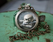Memento Mori Vanitas Necklace with Skull Print in Watch Case and Grungy Chain - Here Comes the Night
