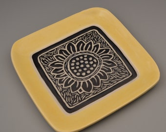 "Graphic Sunflower Carved 7"" Plate with Sunshine Yellow Rim - Ceramic Pottery Sgraffito"