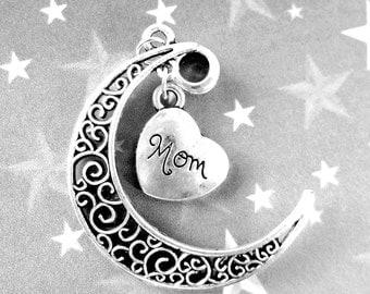 2  Crescent Moon Pendants  silver mom Moon charms cresent Moon Pendant Moon Jewelry Charms  52mm 003-DD4