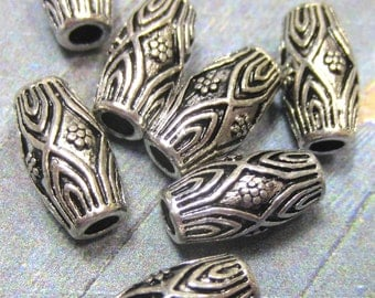18 Silver beads oval spacers metal bead jewelry making supplies  silver focal beads boho chic 7.5mm x 14mm HP-(R3)