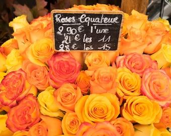 A bouquet of orange-yellow roses from Paris, Flowers Photograph Flower Shop Photo Paris Decor France Wall Art par114