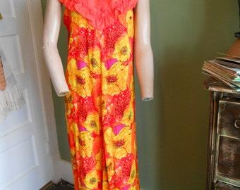 Orange/Yellow Floral Sleeveless Hawaiian Maxidress - Size M-L