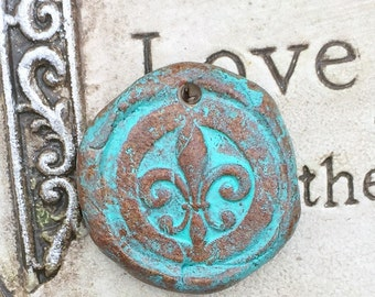 Old World Series Round Ceramic Fleur de lis Pottery Pendant Ceramic Pendant Brown and Verdigris Jewelry Components Religious Pottery Pendant