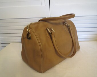 vintage Butterscotch Leather Barrel Shaped Handbag by Morris Moskowitz