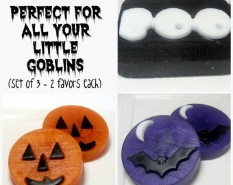 Halloween Soap, Soap Favors, 6 Soaps {2 of each} ,  Bat Soap, Ghost Soap, Pumpkin Soap , Party Favors, Soap for Kids, Teacher Gifts