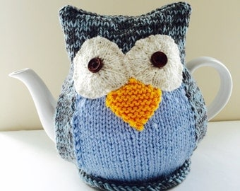 Owl Tea Cosy - CLYDE - in pure wool -  by Tafferty Designs - Size MEDIUM fits 6 cup teapots - Ready to Ship