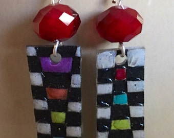 Abstract Checkerboard Rainbow Shrink Plastic Earrings