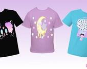 Pick 2 T-Shirts Kawaii Fairy Kei Decora Creepy Cute Pastel Goth Eye Ball Gumball Machine Smiling Moon Pabda Melting Moon