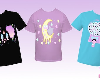 Pick 2 T-Shirts Kawaii Fairy Kei Decora Creepy Cute Pastel Goth Eye Ball Gumball Machine Smiling Moon Panda Melting Moon Got Blood