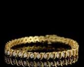 Vintage 14k Yellow Gold S Link 49 Round Brilliant Cut Diamond Eternity Tennis Bracelet 18 Grams Modern Mid Century 1950's Valentine Day Gift