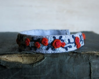 Hand Embroidered Fabric Cuff Bracelet - Orange and Blue Floral Design on Light Grey Linen