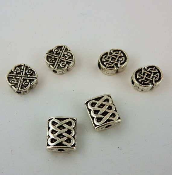 20 assorted silver celtic beads for jewelry making from