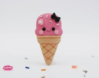Pink Strawberry Ice Cream Felt Badge, Sprinkles, Valentines Gift