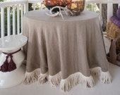Round linen tablecloth with bullion fringe, tablecloth with ivory fringe trim,