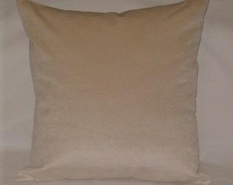 Ecru velvet pillow, 18 inches square, J B Martin Como cushion