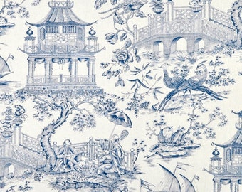 Pair designer drapes, two 50W lined panels, Williamsburg toile porcelain blue