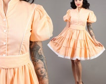 vintage HEART BUTTON peach swing rockabilly pinup puff sleeve dance party dress 1970s 70s extra small small XS S