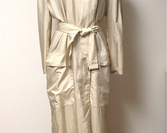 Vintage Claude Montana Oversized Lightweight Trench Coat / Assymetrical / Tan