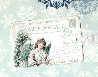 Christmas Gift Tags, Angel, Joyeux Noel, Christmas, Gift Tags, Holiday