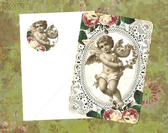 Cherub, Note Cards, Roses, Vintage Style, Note Card Set, Stickers