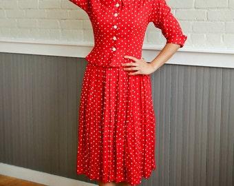 Red Polka Dot Dress and jacket