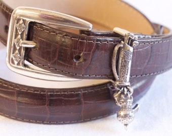 Vintage brown Brighton Leather Belt with golf charms size small