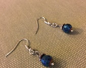 Handmade Disco Blue Dangle Earrings