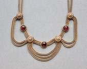 RARE Victorian Revival Garnet Festoon Necklace by French Designers Pierre Lorion and Sylvia Karels