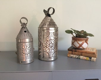 Vintage SMALL Punched Tin Lantern PA Dutch Hanging Lamp Punched Metal