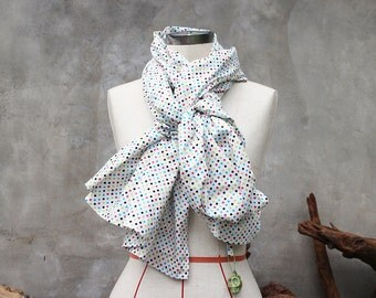 Dark candy polka dot cotton weighted scarf with large green howlite skull charm