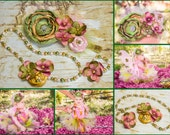 Over the top Fabric Flower headband Pearl Necklace Bracelet Set Gold Pink Moss Sage Green, sparkly tulle, hydrangea First Birthday Outfit