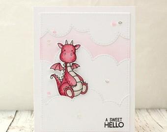 Pink Dragon Card, Pink Dragon Hello Card, Hello Card, Friendship Card, Thinking of You Card, Cute Pink Dragon, Dragon Card,