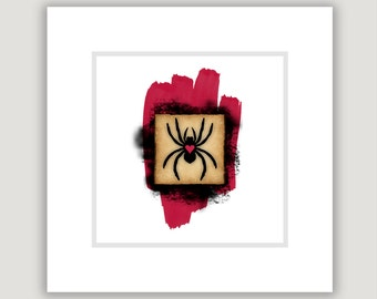 Spider Art, Macabre Art, Goth Art, Halloween art, square art print, goth decor, black and red art, creepy art, spider print, goth Valentine