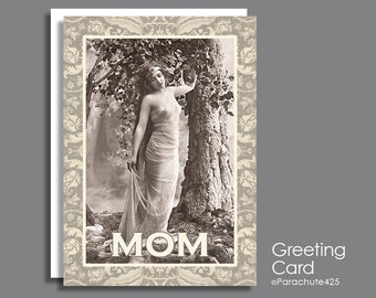 Funny Mother's Day, mom birthday, domestic goddess, vintage erotica, boudoir photography, mature card for mom, funny Mom card, card for mom