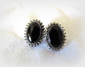 Vintage Sterling Silver Black Onyx And Marcasite Post Earrings