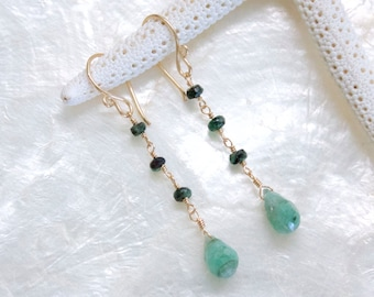 Columbian and Zambian Emeralds Earrings in 14Kt Yellow Gold Fill - Eco Friendly Recycled Gold - Nickel Free - Ready to Ship