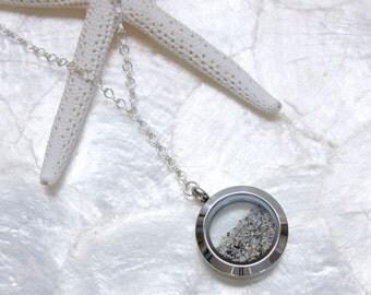 Sterling Silver Sands of Time Fillable Mourning Memorial Keepsake Locket Necklace Shake Cremation Necklace Floating Memory Locket
