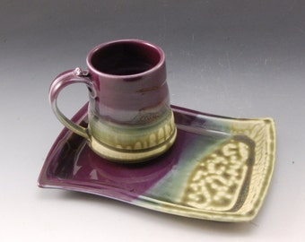 Handmade Pottery Tray  in Eggplant and Fern Glazes by Mark Hudak