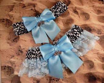 Racing Light Blue Satin Light Blue Lace Flag Charms Wedding Garter Bridal Toss Set