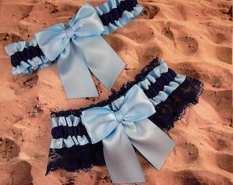 Powder Blue Satin Navy Blue Lace Wedding Bridal Garter Toss Set