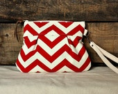 Pleated Chevron Wristlet/ Pouch/ Clutch// Nautical stripe / red cream color- Ready to Ship